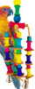 1421 Bobbin toy is a true colorful delight, numerous colored bobbins are interwoven with stamped leather squares and strung together with tied leather strands.