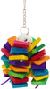 1790 Bonka Bird Toys Ball Step cluster is a feast of color, it consists of 32 small colorful square wood chew pieces threaded through a plastic Wiffle ball, a multi use toy, great for climbing, chewing and pulling.