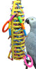 1002 Foraging stick is a plethora of foraging fun for your medium-sized feathered friend. A large colored plastic Wiffle bat is stuffed with brightly colored crinkly paper and adorned with tied leather strands with colorful plastic cylinders.