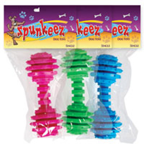 Spunkeez Spiked Dumbell, Let's get physical with these dumbells! A perfect throw, catch and tug toy to keep your furry friend active, fit and entertained all at the same time.
