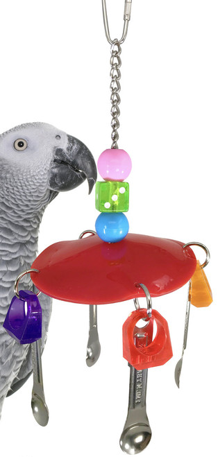1951 Spoon disc, a colorful plastic disc is decorated with colorful acrylic rings and four stainless steel spoons, a great climbing and noise making toy.