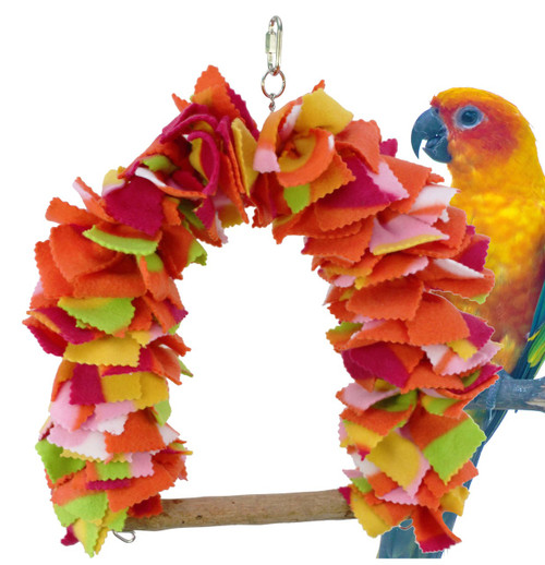 1580 Medium fluffy swing is made from very soft no-pull fleece which is nail friendly, this colorful and entertaining swing - perch is a great place to snuggle and play. Your medium to large sized bird will love to swing and forage through its many layers.