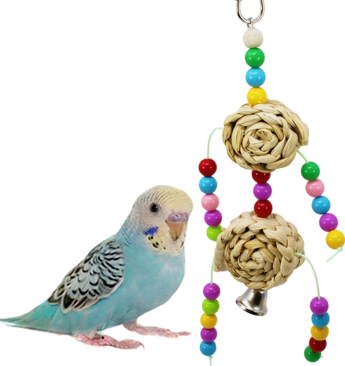 1378 Rolly Polly Shredder has rolls of shredder palm leaf with bright colored attractive solid plastic beads and a bell. Good for smaller birds full of fun your bird will pull on the shredder rolls and dingle the bell. Good for cockatiels, lovebirds, parrotlets, parakeets and other small birds.