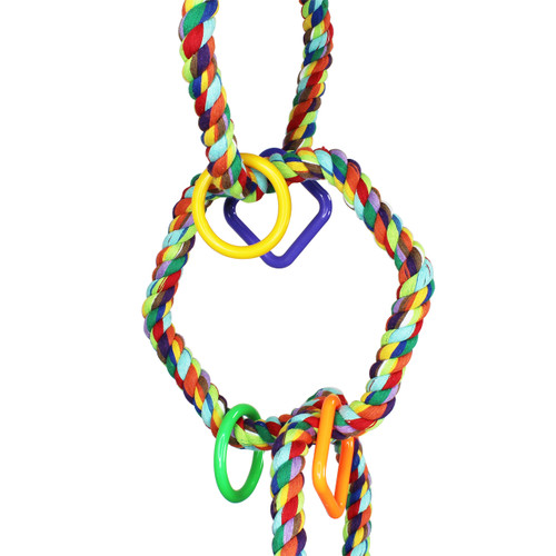 The 1094 Triple Hex Rope Swing from Bonka Bird Toys is a geometrical masterpiece with its bright colors and cool looking hexagon shaped rainbow colored rope perches!