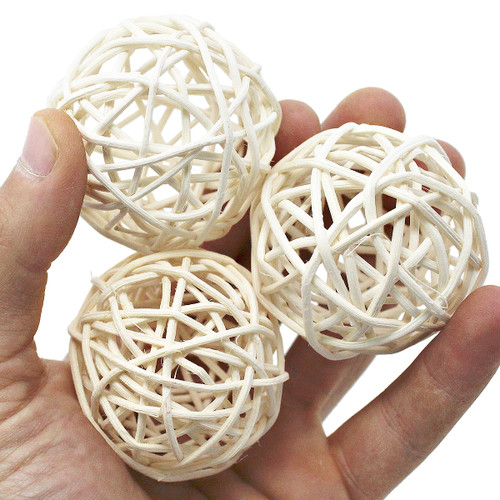 Three 2-inch vine balls, all natural and hand woven spheres are a great foot - talon toy for all sized birds in your family.