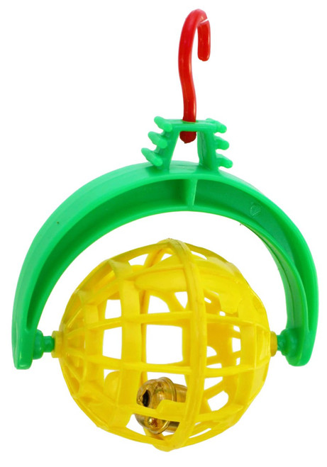 Yellow color 36625 Spinning bell ball, a colorful foot toy to be tossed around within the cage or hung.