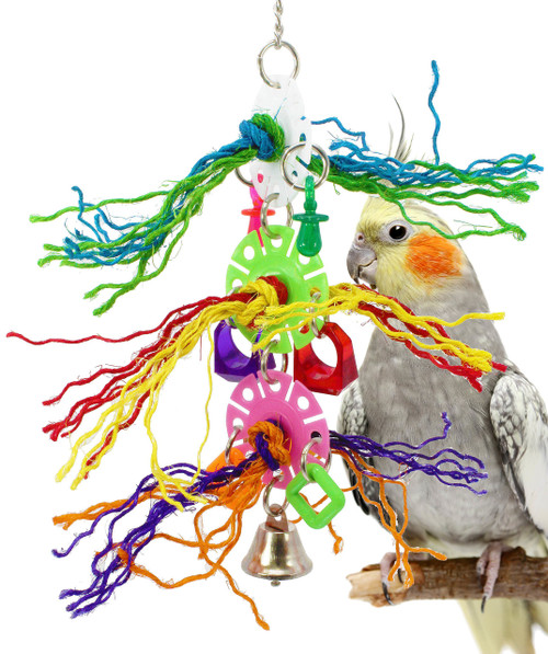 1147 Plucky will excite your small to medium-sized feathered companion to no end, a bountiful amount of colored sisal rope is peppered with colored, plastic discs, rings, and pacifiers, a small bell finishes the toy at the bottom.