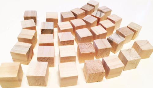35 Piece Natural, mini, wooden, chewy squares that measure approximately 5/8-inch by 5/8-inch.