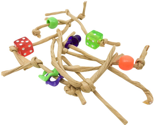 Play 6. Six assorted tiny natural knotted paper foot - talon toys with brightly colored plastic dice, rings, and beads.