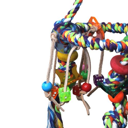 The 827 Rainbow Tri Swing from Bonka Bird Toys is an excellent colorful and exciting charm filled rope perch for your small to medium sized feathered friend.