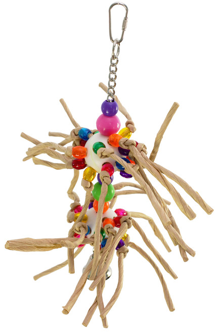 Two small whiffle balls are threaded with rolled paper and colorful, plastic beads throughout, a great toy for those busy medium sized feathered friends in your family. It measures approximately 11 inches high by 8 inches wide, comes complete with hanging chain, a bell, and a plastic link