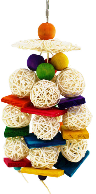1460 Bonka Bird Toys Starball is an explosion of color that will brighten up any cage. This toy will entertain your small to medium sized feathered companion with the options of foraging, climbing, chewing, and pecking. Measures approximately 10 inches high by 5 inches wide, vine balls are 1 1/2 inches in diameter, comes complete with a quick link for easy cage placement.