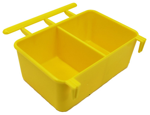 Yellow color 36062 3oz Twin feeder, this universal hanging cup is made of plastic and can hold water and food.