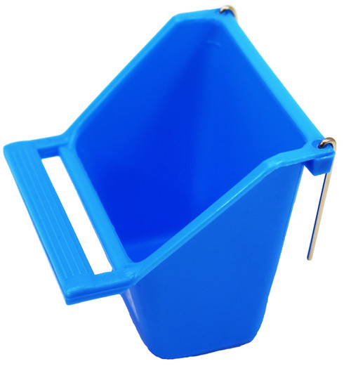 Blue color 36073 Small high back universal hanging cup is made of durable plastic and can either hold water or food. color