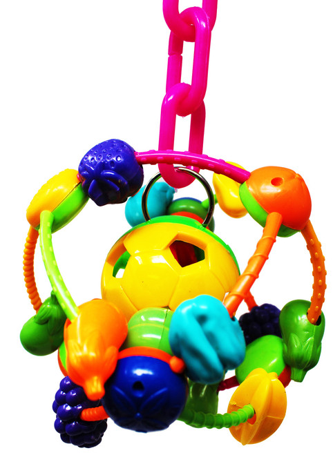 1442 The Orbital bird toy is a spherical delight, a smaller version of the famous orbit toy this toy will give your small pet hours of endless fun, they will not get bored with the Orbital.