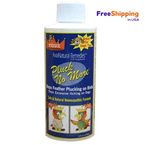 Kings cages Pluck no more, this great revolutionary new product for feather pluckers will be the answer. Safe and natural homeopathic formula.