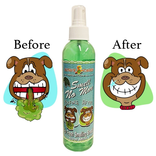 50018 Smell No More is designed to reduce bad breath odor. This spray will help dogs by reducing tartar, plaque, and will lessen the risk of gum disease when used regularly.