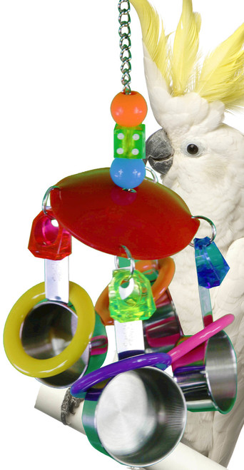 1785 Cup disc, a colorful plastic disc is decorated with colorful acrylic rings and four stainless steel cups, a great climbing and noise making toy.