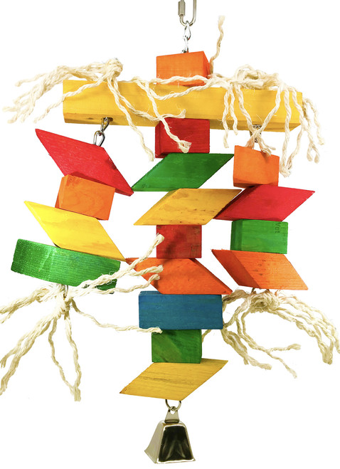 The 3120 Zig Zag Bridge gives your larger pet bird tons of objects to play and chew. The 3120 also looks great in any cage that it fits in with its bright vibrant colors and shiny metal bell.