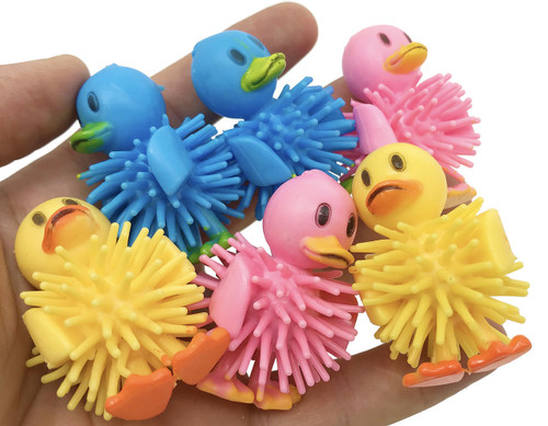 The 2056 pk6 Spike Duck pack are sure to excite your small feathered friend with their bright colors and easy to grab textures. The ducks are different colors.