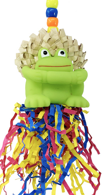 The 2073 Small Frog Hat is a cute and fun toy with lots of shreddable material for your pet bird. The 2073 is very easy to install with its quick link attachment right at the top of the toy. The link is connected to a metal wire that is strung through beads as it makes its way down to the main part of the toy.