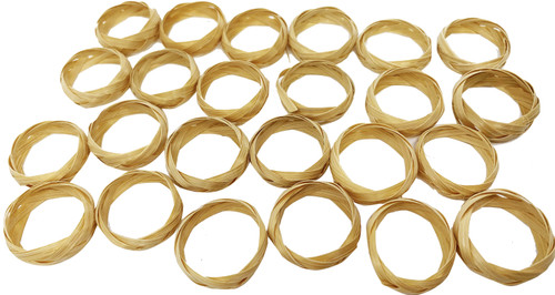 The 3172 24pk Tiny Bamboo Rings is a fun filled pack of foot toys for your beaked buddy. The 3172 has 24 Tiny bamboo rings that are ready to be played with. They have a 1/4 thickness and a 7/8 inch width. Each ring has pieces of bamboo that are very easy for your pet to grab onto. The rings are very light, making them easy to pickup, carry around and play with.