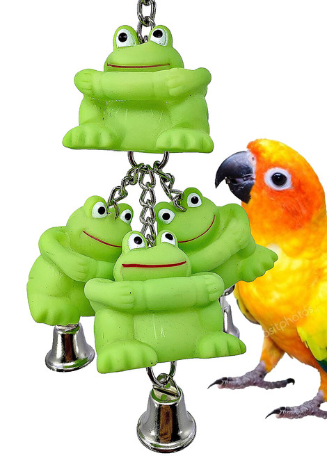 The 3277 Triple Frog Ringer is a bell of a good time for your birdie buddy! The top of the 3277 has a small quick link attachment letting you hang it easily.