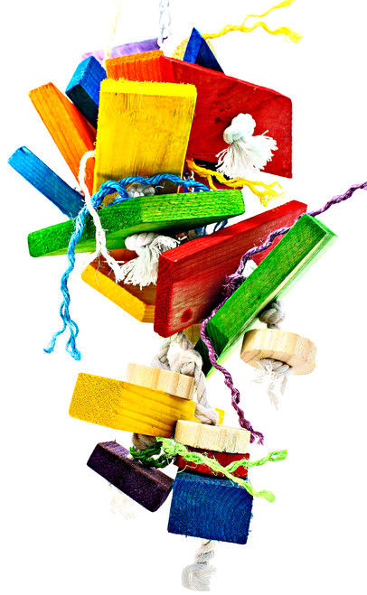 The 3370 Huge Jumble Chew packs tons of chewing material for your busy beaked buddy! The 3370 is a wild looking toy with its crazy shapes, colors and angles.