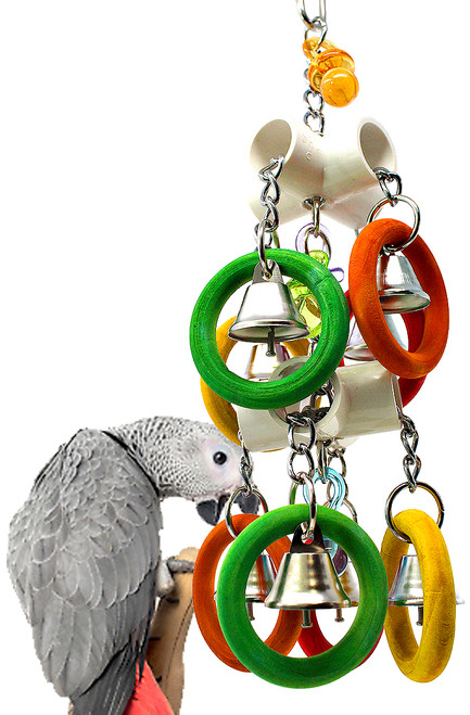 The 2139 Duo Olympic Bells from Bonka Bird Toys are a mighty way for your pet to play and exercise! The 2139 has an eye catching contrast of colors that look great.