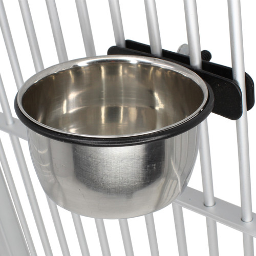The 3412 5oz Clamp Cup B from Bonka Bird Toys is the best way to add a small stainless steel feeding cup to your feathered friends cage! The bowl is very durable.
