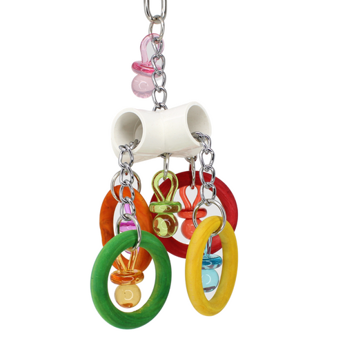 The 2150 Olympic Paci from Bonka Bird Toys is an olympic level of pulling fun for your feathered friend! The toy has heavy duty materials and bright colors.