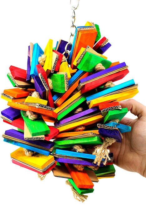 The 2156 Cardboard Slat Cluster from Bonka Bird Toys is an explosion of chewing materials and different shapes for your medium to large sized feathered friend!