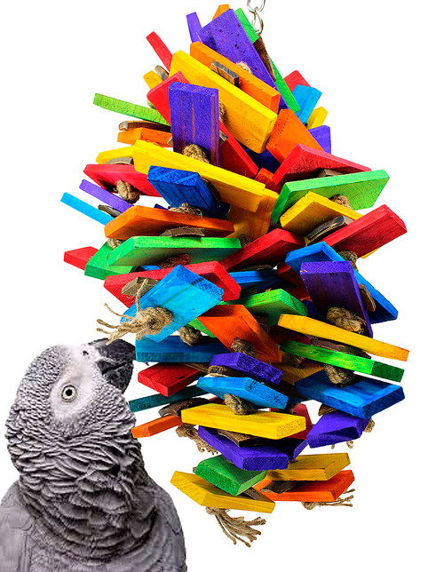 The 2157 Coco Slat Cluster from Bonka Bird Toys is a cascading explosion of rainbow colors and chewing fun for your medium to large sized feathered friend!