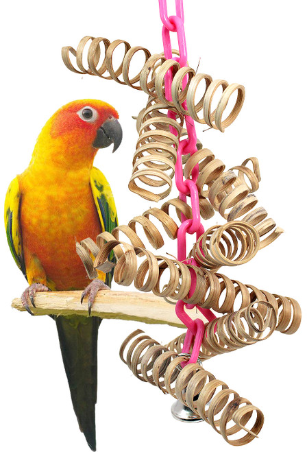 The 3449 Bamboo Spring from Bonka Bird Toys is a bouncy good time for your friendly chickies! The flexible shape of the 3449 make it easy to install it in any cage.