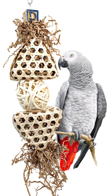 The 3448 Shred Tower from Bonka Bird Toys is a pillar of enticing chewable materials for your large sized beaked buddy! This bird toy hangs in any larger cage.