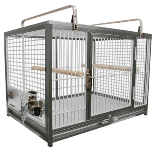 OPEN BOX ITEM Silver color Kings cages NEW ATM 2029 Aluminum Travel Carrier. 20X28X20.