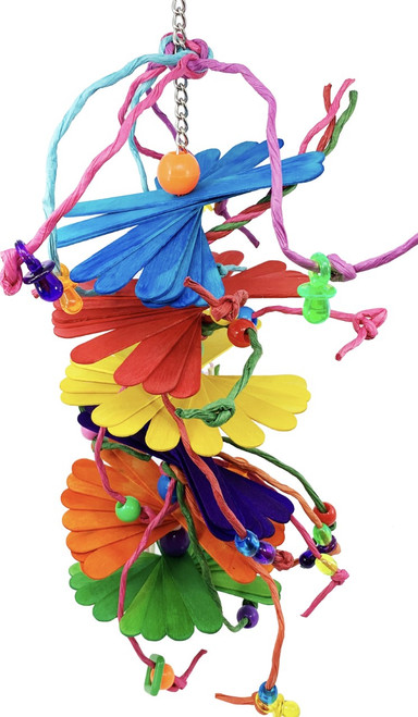 1275 Big Stick Me Bird toy is an exciting combination of picking and chewing fun. This bird has everything your bird will need to play and forage with interesting textures wood sticks, paper twine, plastic beads and plastic sliders.