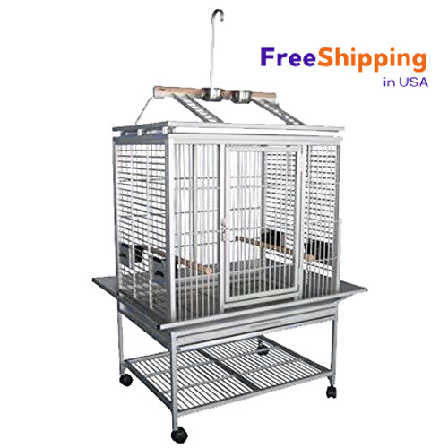 ACP 3325  Key Features: Patented front door lock (ID: Lock 7) Large swing out front door Nest Door Opening (can be removed to add a nest box to side panel) Slide out grill & tray on bottom as well as slide out tray on playpen top 4 Swing out feeder doors with 4 stainless steel 10oz Food and Water Cups