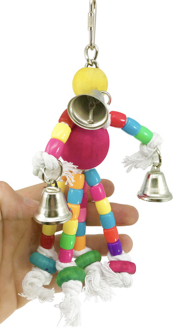 The 1431 Rope Man from Bonka Bird Toys is a sweet little bird toy for your small sized feathered friend. This small bird toy has colorful assorted materials.