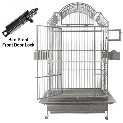 Grey/Silver Color Model 306. Ideal for Amazons, Macaws, Cockatoos, African Greys and Eclectus. The European style Napoleon top will give your bird a castle of a cage.