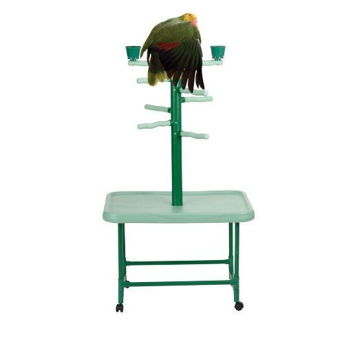 "Parrot Bird Stand. PP102.  Great playstand for all Cockatiels, Conures and other medium sized Birds. Dimensions are 32"" wide x 22.5"" deep x 54"" high, perches are 1.25"" diameter."