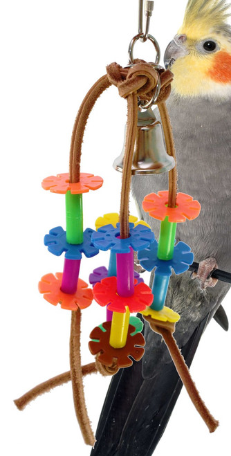 Leather petals is a super toy for your small to medium sized bird to chew, swing and play.