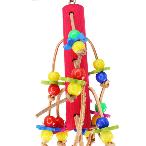 The 1872 Tug Me from Bonka Bird Toys is a colorful and chewable good time for your small to medium sized beaked buddy! This bird toy has lots of strips of leather.