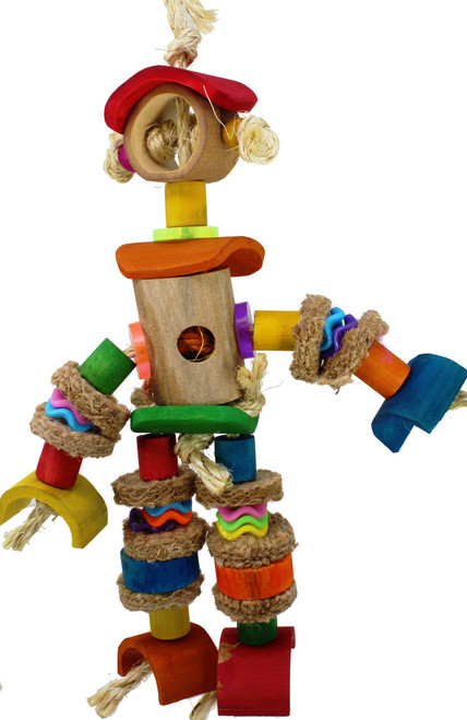 1904 Bamboo Man is covered in bamboo from head to foot, burlap arms and legs, colored chewable wooden cylinders are accompanied by wooden beads and held together by natural sisal rope.