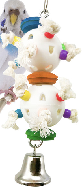 1885 Dimple toy is exactly what your small bird needs to keep them busy with all this toy has to offer. The ball is partially filled with irresistible wooden beads and soft cotton rope threads for your bird to tug and pull at all day long