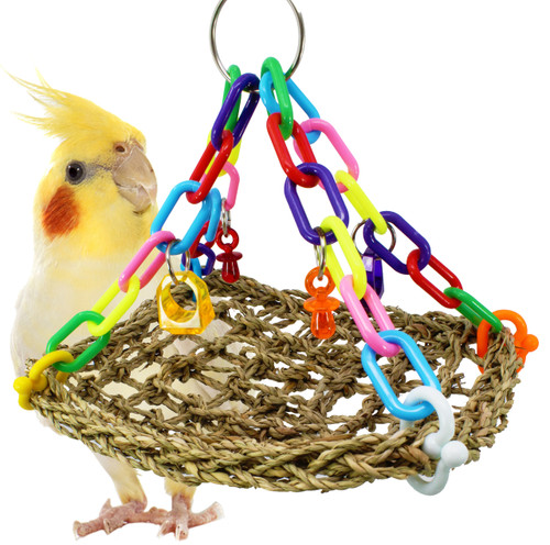 1954 Platform mat Swing is going to be your small to medium-sized feathered friends best friend, he will rock back and forth and play with the lucky charms around him.