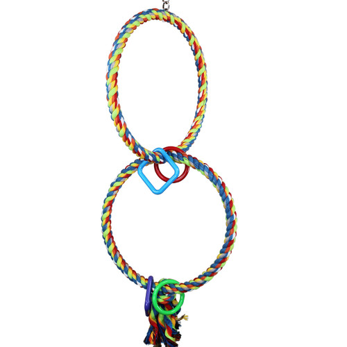 The 1037 Ring Ring Rope Swing from Bonka Bird Toys is a colorful and straightforward rope perch for your medium sized beaked buddy. This rope perch has bright color!