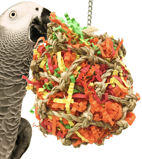 1889 Small Calypso super shredder ball is just stuffed full of excitement, your large feathered friend will just love to attack this jute net ball which is stuffed full of colorful shredded paper and food colored dyed wooden beads, spools, blocks, buttons and much more.