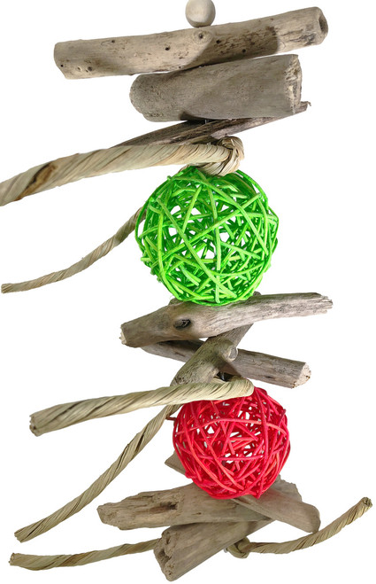 1966 Drift ball is a natural toy that your medium to large sized feathered friend will just love to climb and chew all over. Two colored vine balls are interspersed with natural drift wood and tied leather strands, from foraging to chewing its many textures will surely be a hit in his cage.