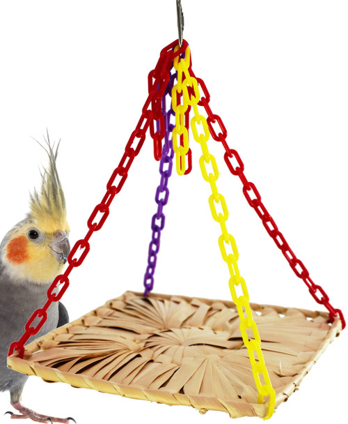 1605 Palm platform swing an all natural woven palm leaf platform is a great way to swing your day away, sturdy link plastic colored chain suspend the mat from four corners, with surplus links in the center to play with.